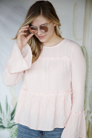 Marie Ruffles & Stripes Blouse, Blush