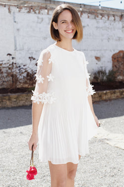 Megan Pleated Dress, Off White