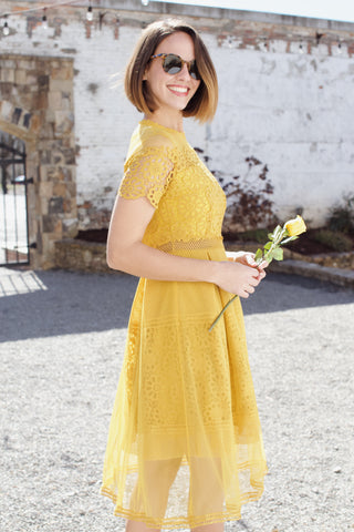 Marigold Crochet Midi Dress, Mustard