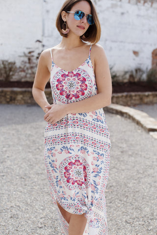 Palm Beach Printed Maxi Dress, Ivory/Pink
