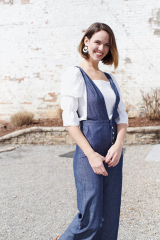 McKenna Denim Jumpsuit, Dark Blue