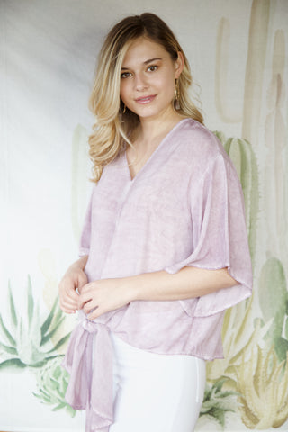 Andi Tie Front Washed Blouse, Lavender | Women's Vacation Tops