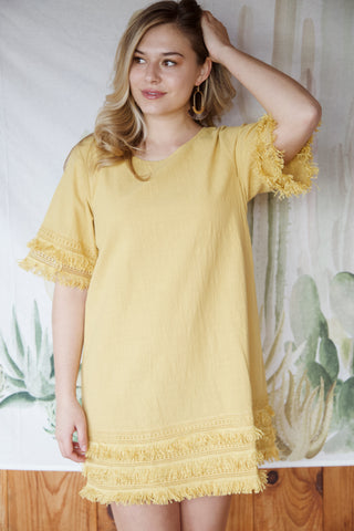 Meg Crochet Hem Dress, Golden Kiwi | Women's Party Dresses
