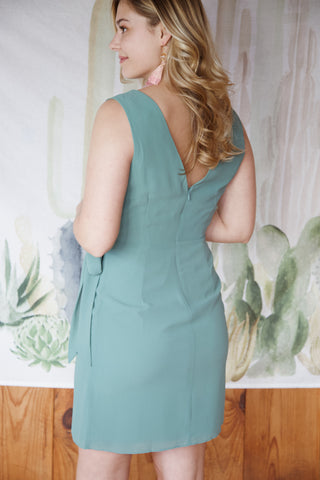 Anna Faux Wrap Dress, Moss Green