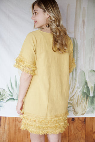 Meg Crochet Hem Dress, Golden Kiwi
