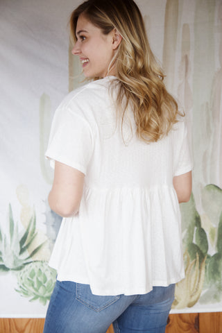 Heathered Babydoll Drop Shoulder Top, Ivory