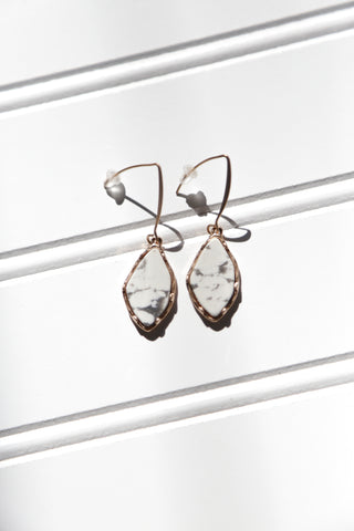 Stone Drop Earrings, White