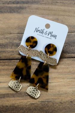 Tortoise & Gold Shapes Dangle Earring, Tortoise