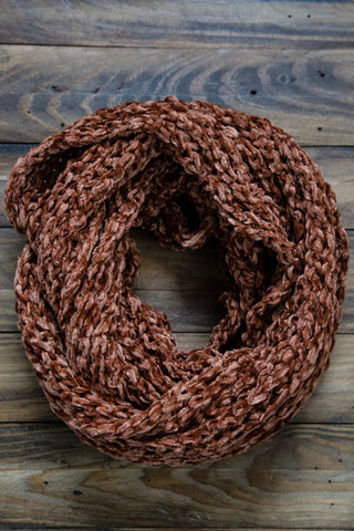 Chenille Infinity Scarf, Rust