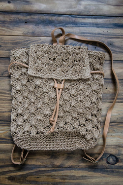 Woven Straw Backpack, Tan | Fossil