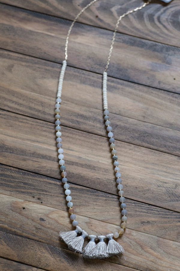 Colorful beads w/Tassels Necklace, Grey | fashion jewelry