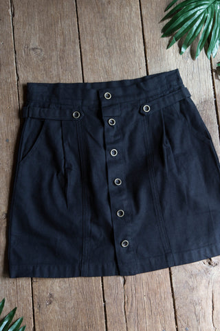 Button Front Cotton Skirt, Black