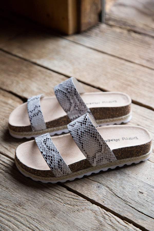 Double Play Print Sandal, Snake White | Dirty Laundry
