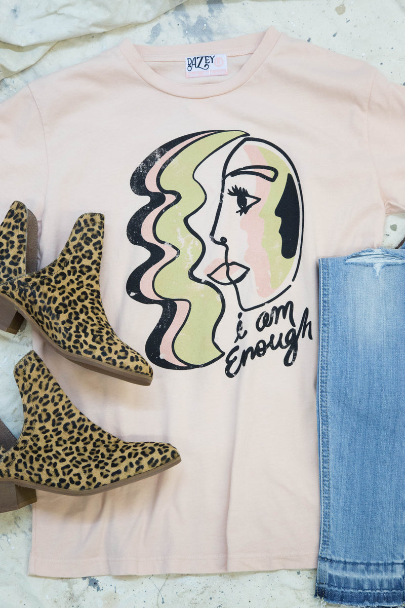 I Am Enough Tee, Rose | Dazey LA
