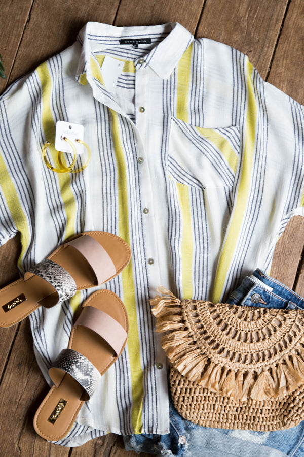 Oversize Button Down Stripe Shirt,Ivory/Lime | Women's Shirts