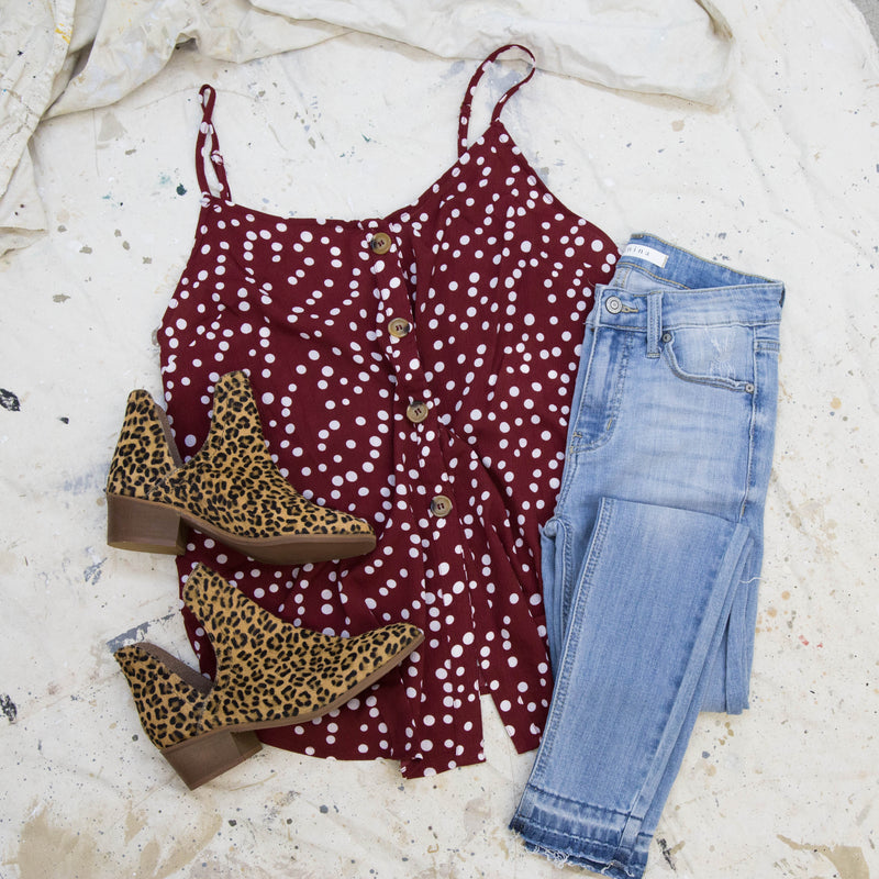Button Down Polka Dot Tank, Crimson | Extended Sizes Available