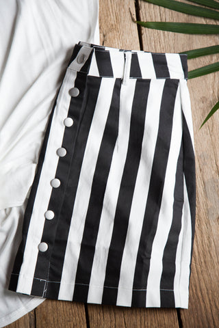 Striped Snap Button Skirt, Black/White | Women's Skirts