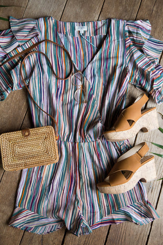 Striped Romper, Green Mix