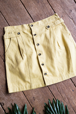 Button Front Cotton Skirt, Yellow  | Women's Basic Skirts