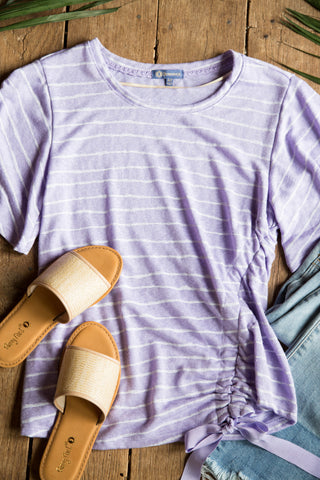 Lavender Drawstring Front Top, Lavender | Democracy