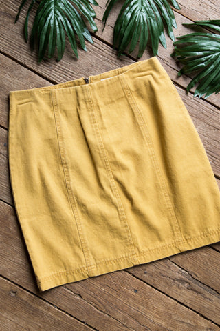Denim Mini Skirt, Mustard | Women's Skirts