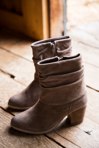 Lawson Suede Slouchy Boot, Taupe | Rebels