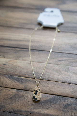 Leopard Faux Fur Pendant Necklace, Leopard/Gold