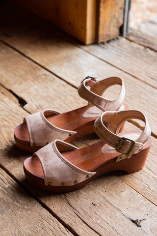 Hippie Peep Toe Slide, Taupe Canvas