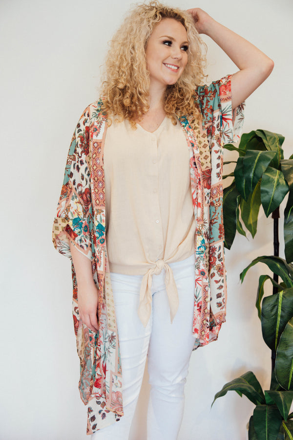 Patchwork Dreams Long Kimono, Sage Multi | Plus Size