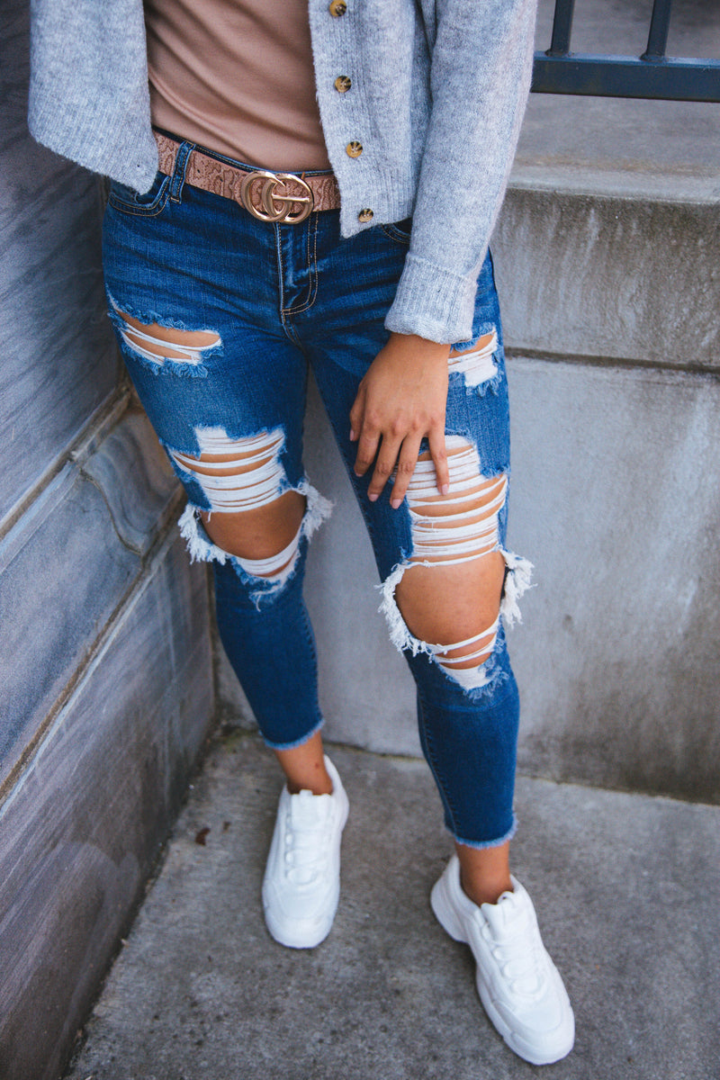 Lexy Mid Rise Destroyed Skinny Crop Jeans, Dark Denim