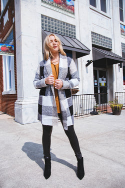 Cagney Plaid Cardigan Coat, Grey Sand | RD Style