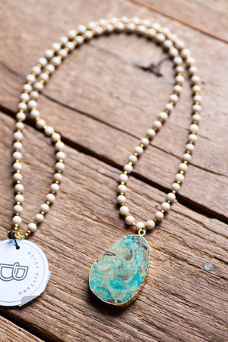 The Sue Necklace, Cream/Turquoise Betsy Pittard Designs