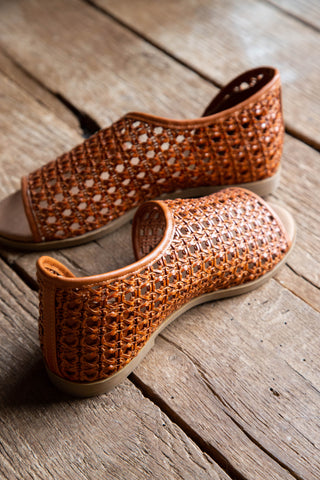 Hippie Woven Open Flat Shoe, Chestnut, By Bamboo