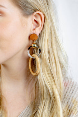 Linked Ring Straw and Acetate Earrings, Brown Multi