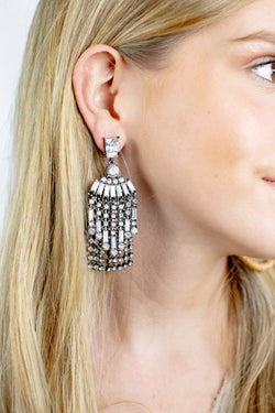 Jeweled Chandelier Earrings, Black Diamond