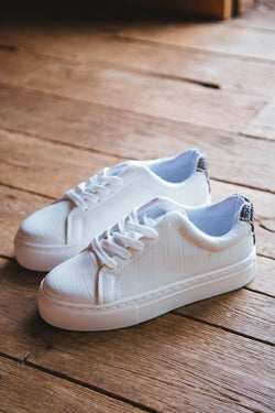 Royal Lace Up Sneaker, White Croc