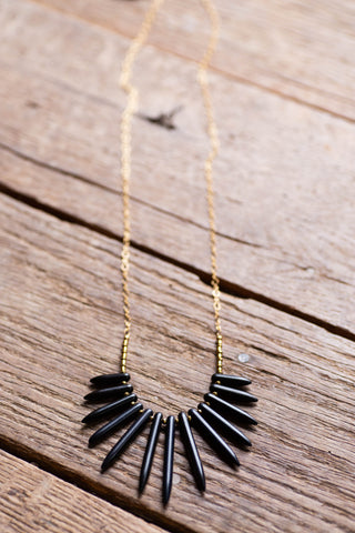 The Oliver Spike Necklace, Black | BPD