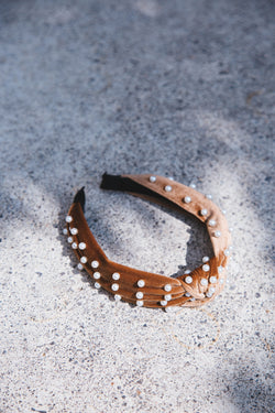 Linden Pearl Detail Top Knot Headband, Brown