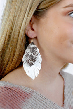 Double Layered Leather Feather Earrings, Cream/Grey