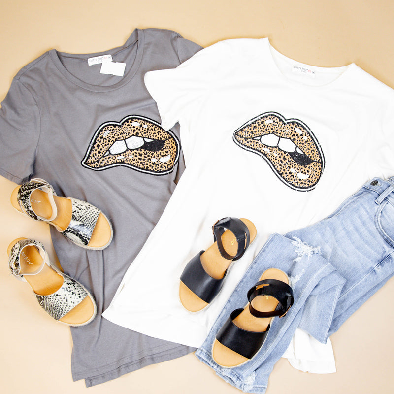Leopard Lips Graphic Tee, Charcoal | Plus Size