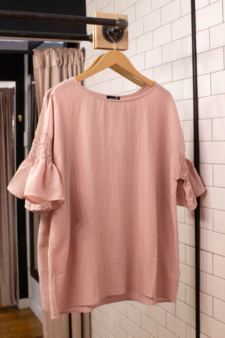 Della Smocked Sleeve Top, Pale Rose | Plus Size