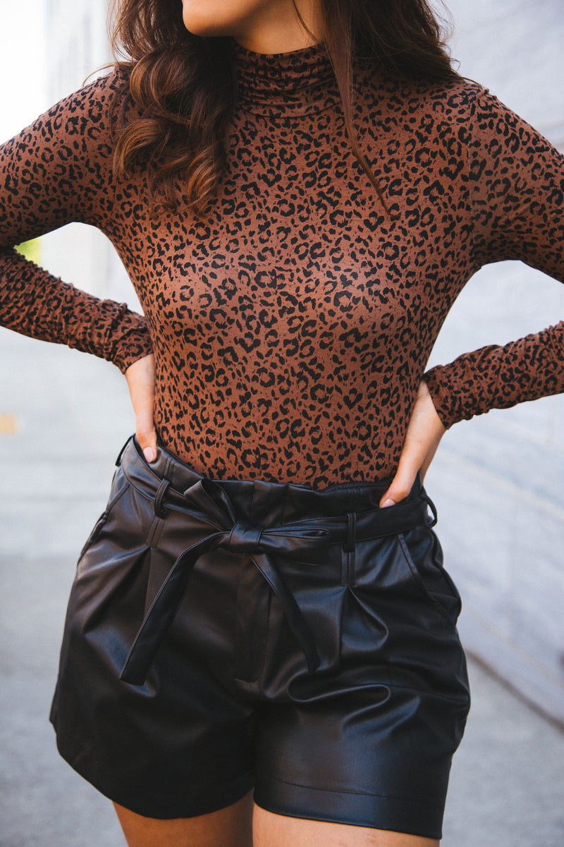 Take You There Turtleneck Bodysuit, Brown Leopard