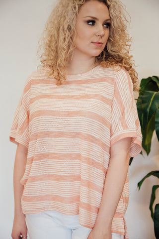 Sherbert Striped Tee, Light Clay | Plus Size