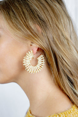 Beaded Beach Hoops, Ivory