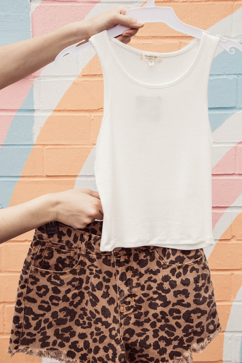 Leopard Denim Shorts, Camel Leopard | Extended Sizes Available