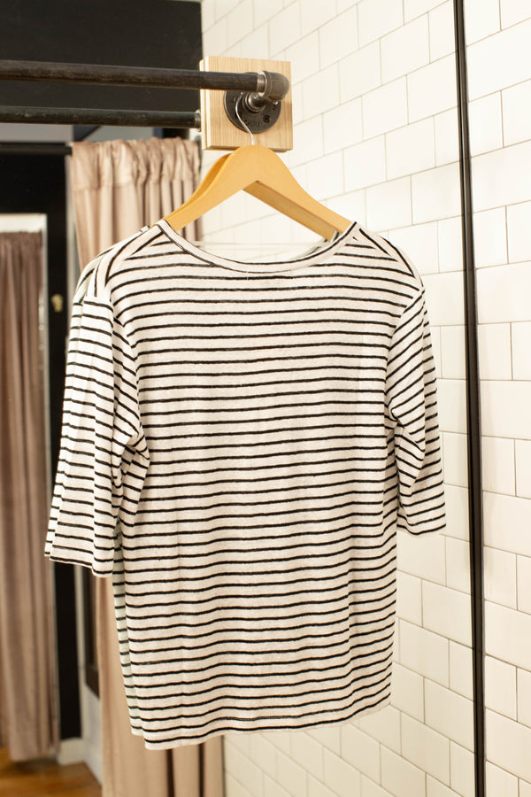 Classic Striped All Linen Top, White/Black | Sanctuary | Basics & STripes