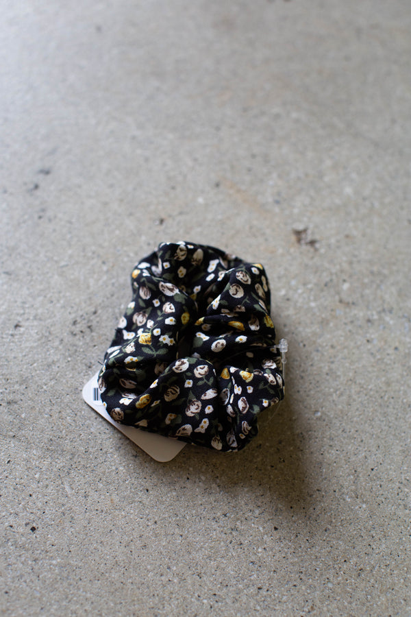 Floral Hair Scrunchie, Black Multi