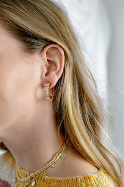 Stay the Night Rectangle Jewel Earrings, Gold