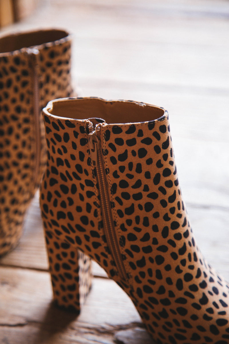 Bellflower Pointed Toe Heeled Bootie, Cheetah