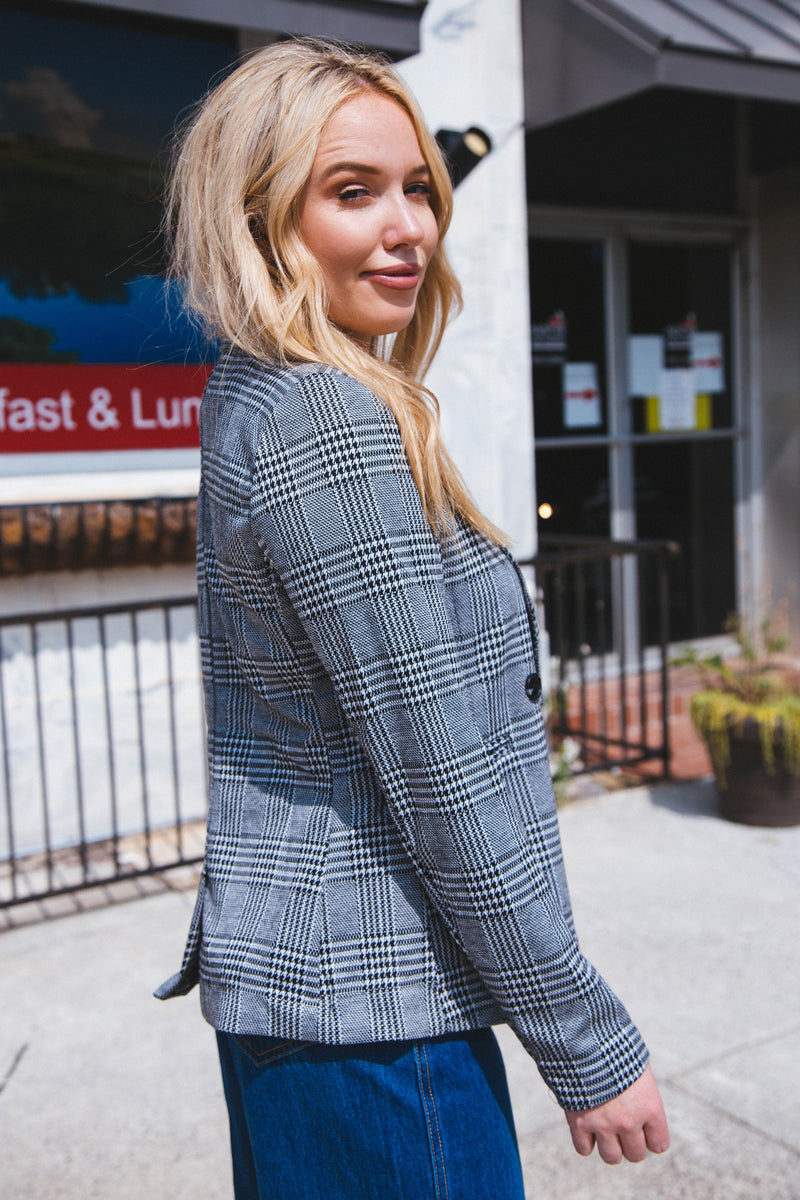 Tierney Plaid Blazer, Black/Grey